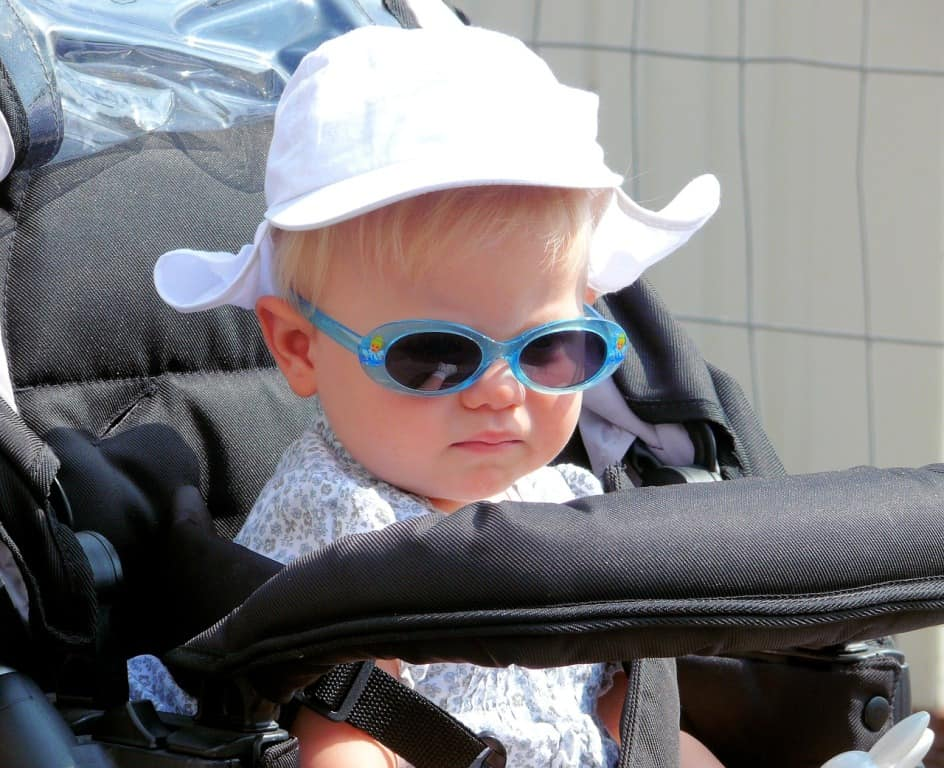 baby in blue sunglasses