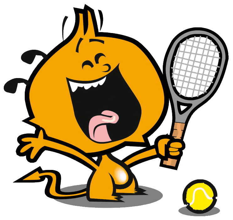 laughing cartoon tennis player