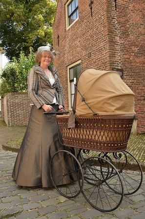 lady and old style pram
