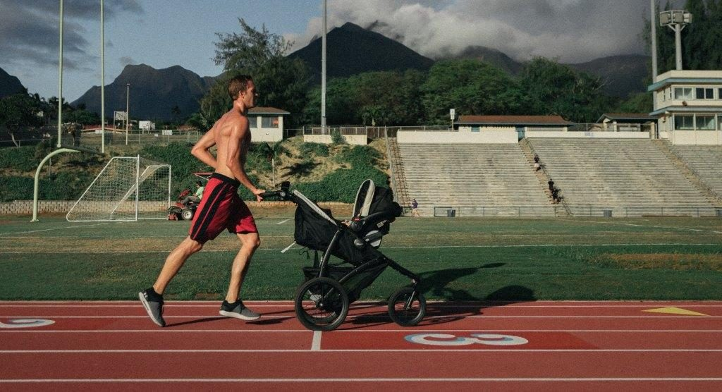 taking a jogging stroller on a running track