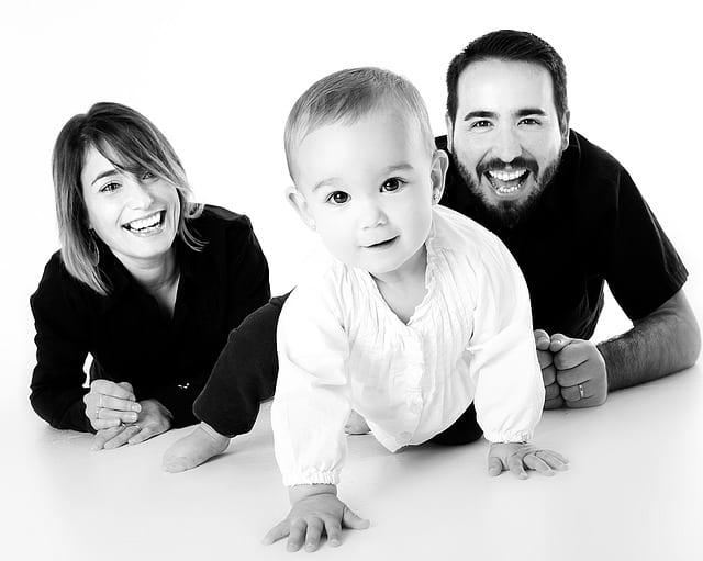 mum, dad and baby - black and white photo