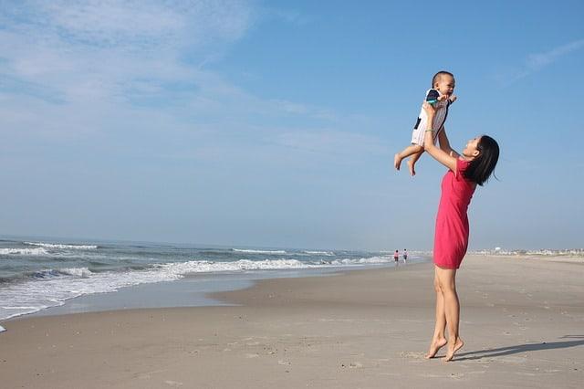 mum and baby at the beach
