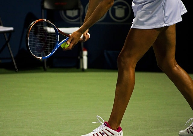 preparing for the tennis serve