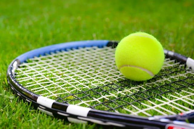 tennis racket and ball on grass court
